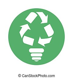 Figure bulb environmental care icon