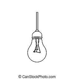 figure bulb hanging icon image