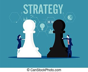 figure., business, illustration., strategy., équipe, tenue, échecs, vecteur, concept