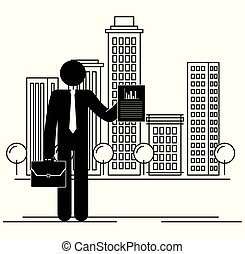 figure businessman with document in the city