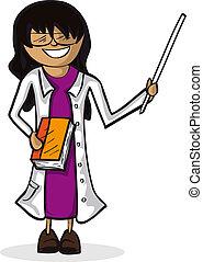 figure., cartoon, kvinde, lærer, professionel
