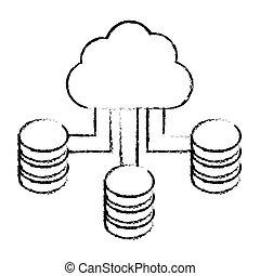 figure cloud hosting data center image, vector illustration