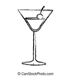 figure cocktail beverage with cherry icon