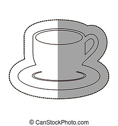 figure coffee cup and plate icon