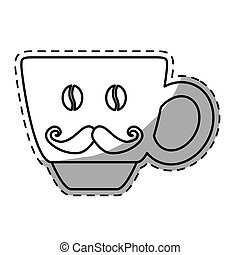 Figure coffee cup with moustache icon