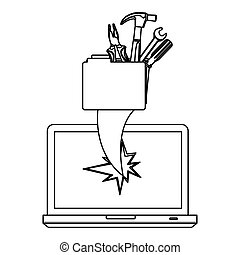 figure computer file with tools and hole icon