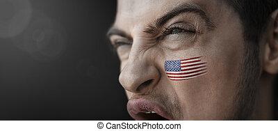 figure, country's, homme, drapeau, crier, national, sien, image