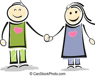 figure, couple, crosse, tenant mains, sourire