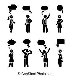 figure, couple, ensemble, crosse, dialogue