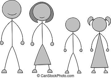 figure, crosse, famille