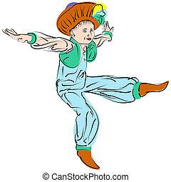 Figure dancing little boy