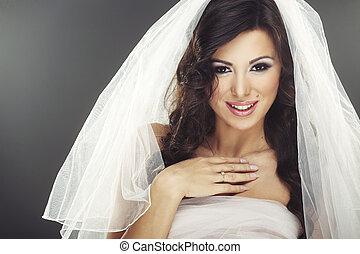 figure, de, beau, jeune, mariée, à, heureux, sourire