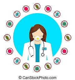 figure, différent, docteur, healthcare, attaque, services., bacteria., respirateur, protection., bactérie