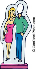 figure, disparu, couple, haut, stand, carton, homme