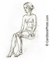 Figure drawing in pencil - Academic figure drawing of a...