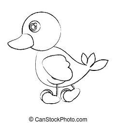 figure duck walking icon