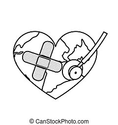 figure earth planet heart with stethoscope and band aid icon