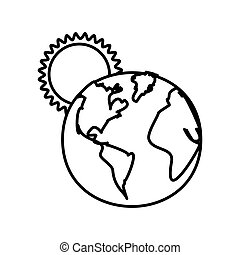 figure earth planet with sun icon