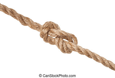 figure-eight knot tied on jute rope isolated - figure-eight ...