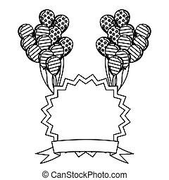 figure, emblème, jour indépendance, à, ballons, et, drapeau, icône