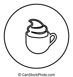 figure emblem cup coffee with cream icon