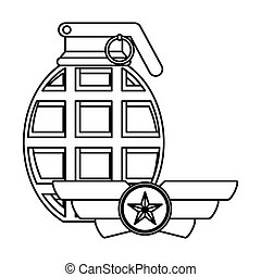Figure emblem with grenade military elements
