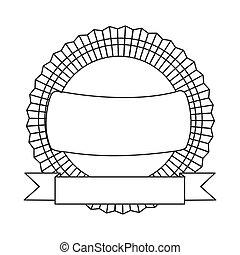 figure emblem with ribbon icon