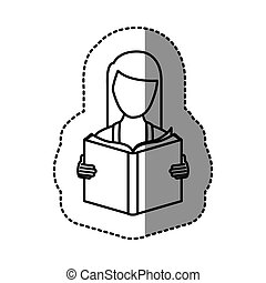 figure emblem woman to read a book icon