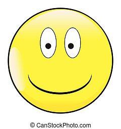 figure, emoticon, sourire, bouton, grands yeux