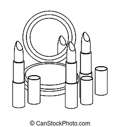 figure face powder with lipsticks icon, vector illustraction...