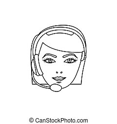 figure face woman technological services icon