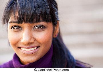 figure, femme, closeup, indien, jeune