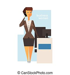 figure, femme, résumé, business