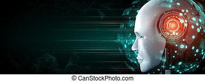 figure, fin, analytic, humanoïde, concept, haut, robot, données, graphique, grand
