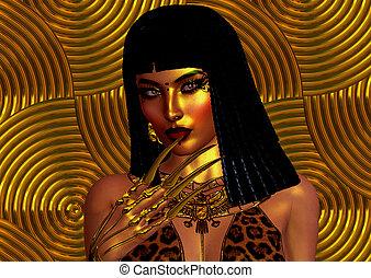 figure, fin, woman., haut, égyptien