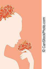 figure, fleurs, femme