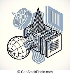 figure., forme abstraite, polygonal, vecteur, géométrique, 3d
