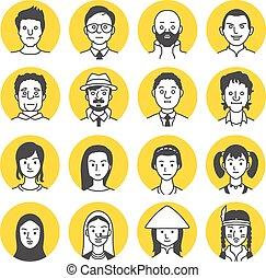 figure, gens, avatar, icônes