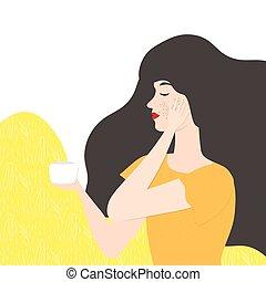figure, girl, illustration, orange, pot., jeune, cheveux,...