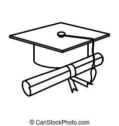 figure graduation hat with diploma