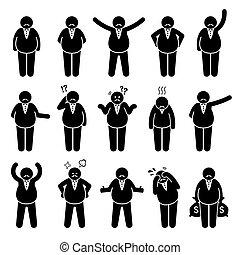 figure, grasso, o, set., datore lavoro, azioni, ricco, pose, carattere, capo, icona, bastone