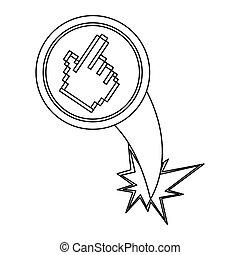 figure hand cursor with hole icon