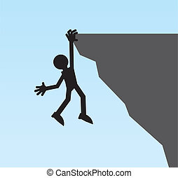 Figure Hanging Cliff - Silhouette figure hanging from a...