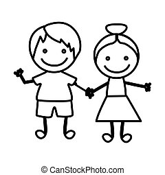figure happy chidren with hand together icon