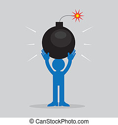 Figure Holding Bomb