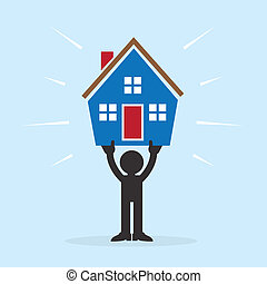 Figure holding up house above head