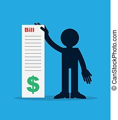 Figure holding up large bill