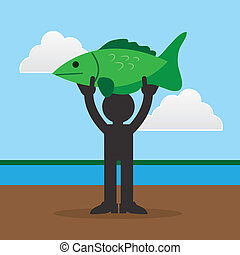Figure Holding Large Fish