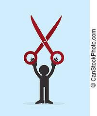 Figure Holding Large Scissors