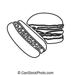 figure hot dog and hamburger icon